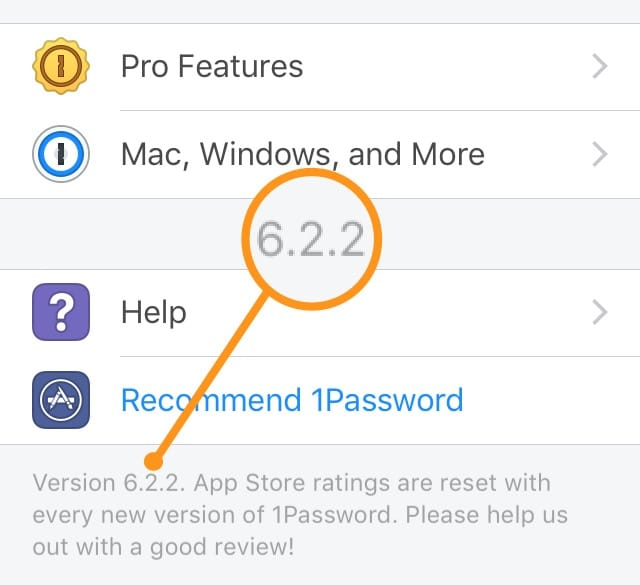 1Password for iOS version number