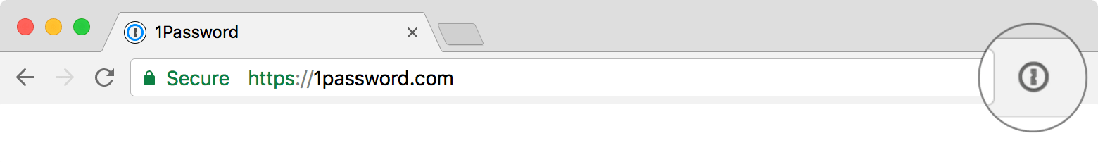 the 1Password button in Chrome