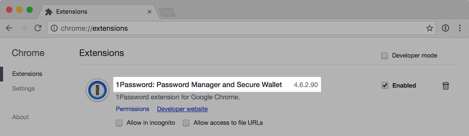 1Password extension version number in Chrome