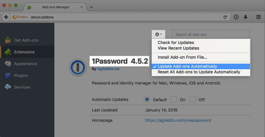 1Password extension version number in Firefox