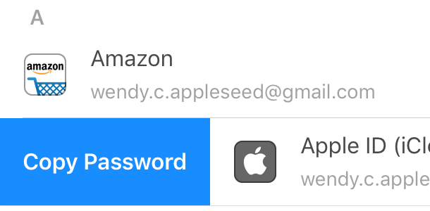 Swipe right to copy a password