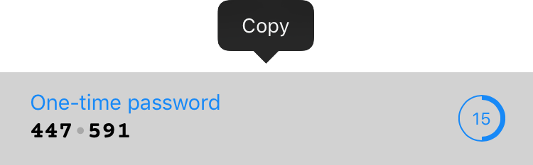Copying the 6‑digit code from 1Password
