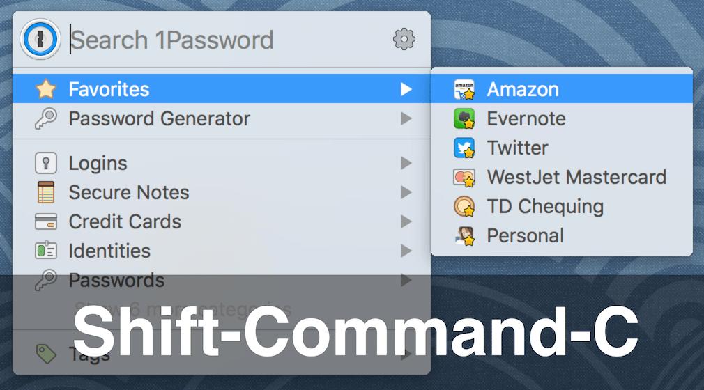 Press Shift-Command-C to copy a password